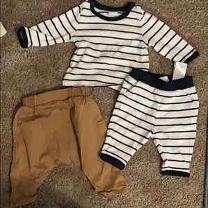 H&M baby boy bundle 1-2mths joggerset & harem pnts